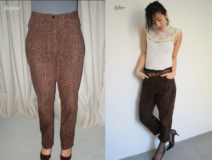 Upcycled Vintage Pants | Just by adding cuffs to your pants and some belt loops, you can turn an old pair of pants into something vintage chic. See the step-by-step sewing tutorial in this blog post.