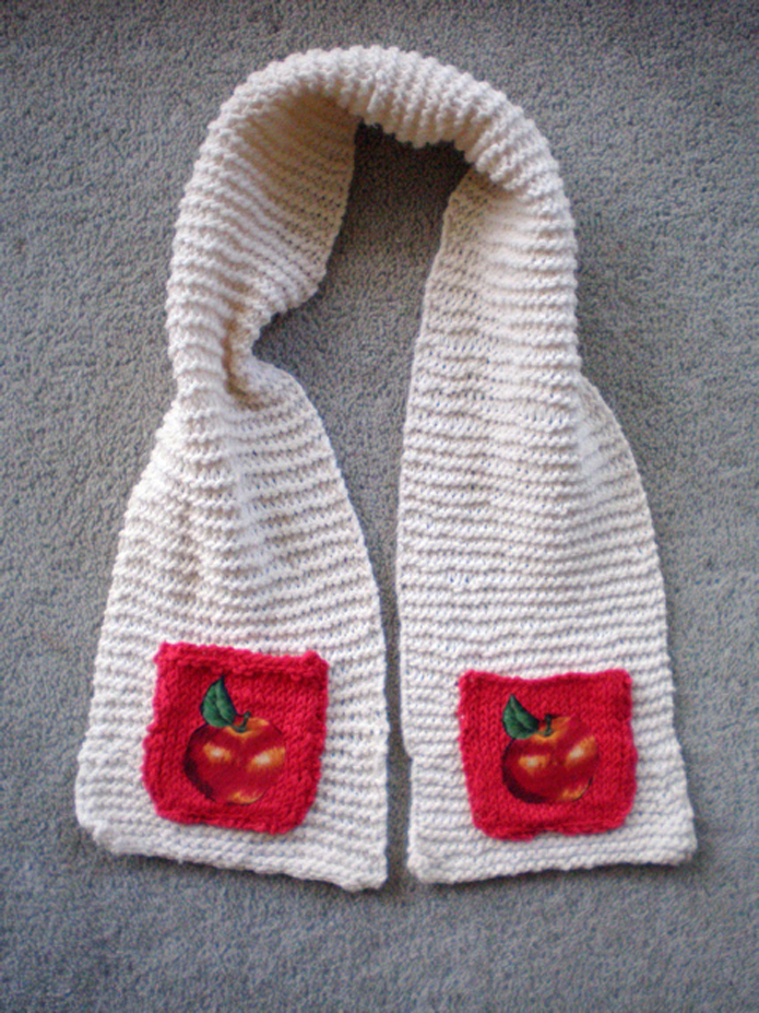Knitting a Gift - Childrens Apple Pocket Scarf - Sew in Love