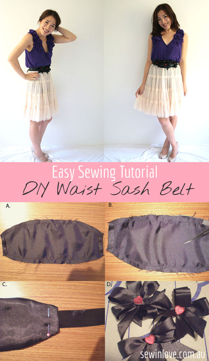 DIY Fashion Sash Belt - Free sewing pattern & tutorial to make your own waist belt. Inspired by Alannah Hill <3 Full tutorial at http://www.sewinlove.com.au/2011/11/21/free-sewing-pattern-sash-belt/