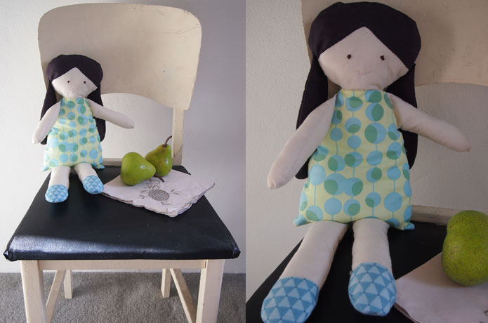 DIY Vintage Stuffed Doll Toy | I made this rag doll from fabric scraps. Her dress is Amy Butler fabric :D