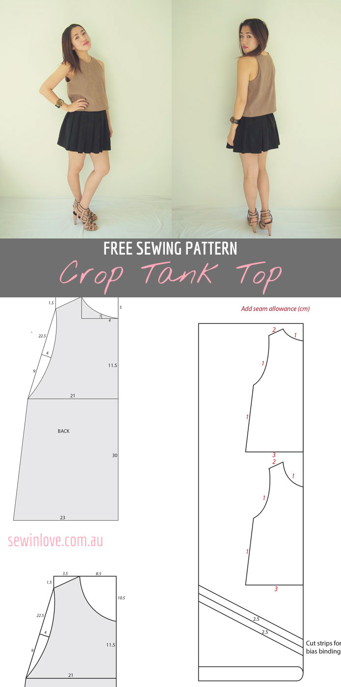Free crop tank top sewing pattern and tutorial sew in love free sewing pattern for an easy crop tank top make in lots of different colours jeuxipadfo Image collections