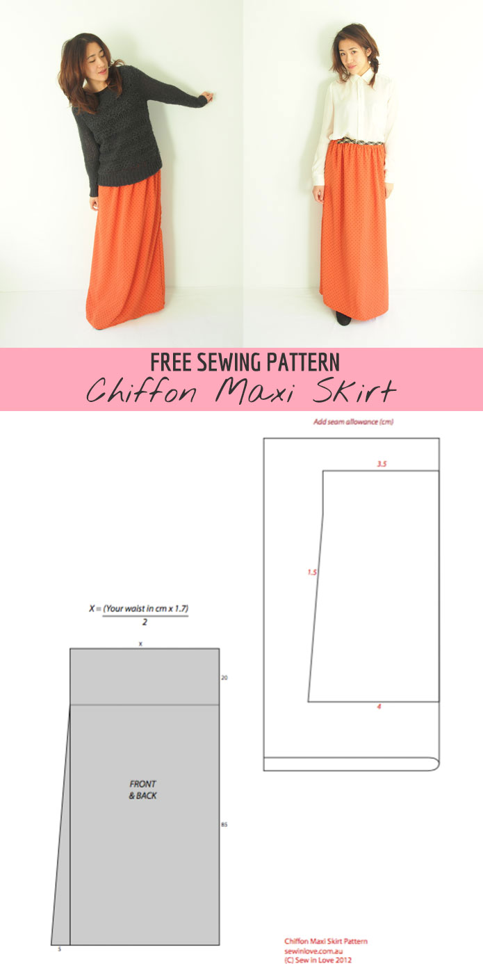 Free Sewing Pattern: Chiffon maxi skirt