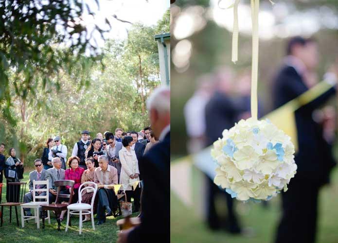 Vintage handmade wedding bunting and flower ball