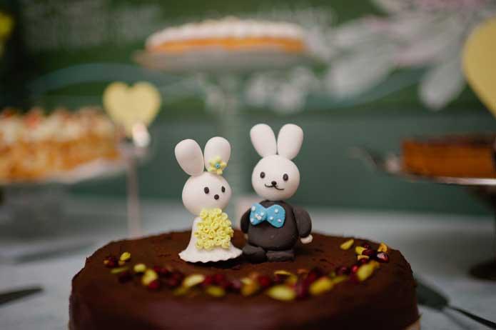 Vintage handmade wedding cake topper bunny rabbits