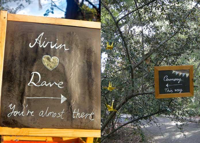 Vintage handmade wedding chalkboard signs