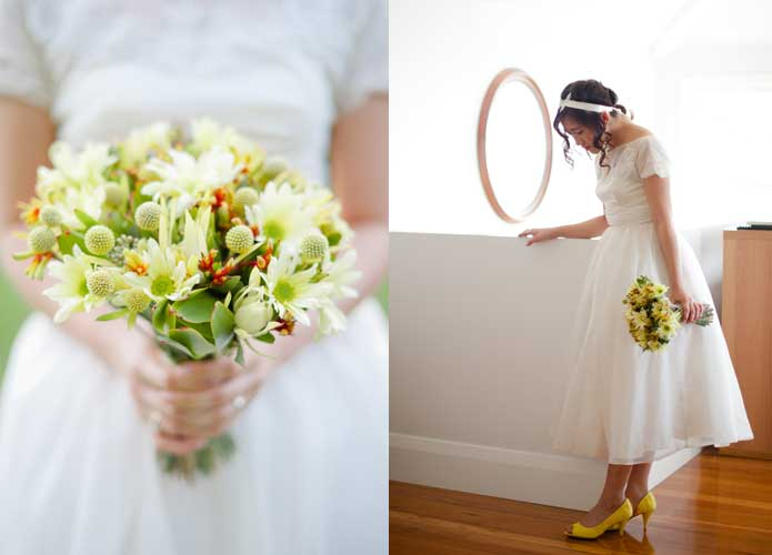 Vintage wedding dress and Australian native bouquet