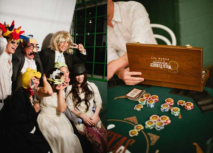 Vintage handmade wedding poker table and photobooth props