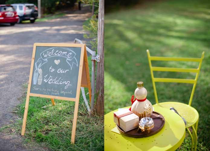 Vintage handmade wedding chalkboard sign and sake ceremony