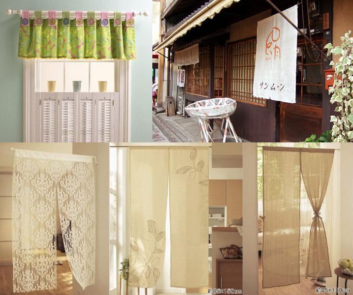 Button curtain tabs and noren room divider curtain