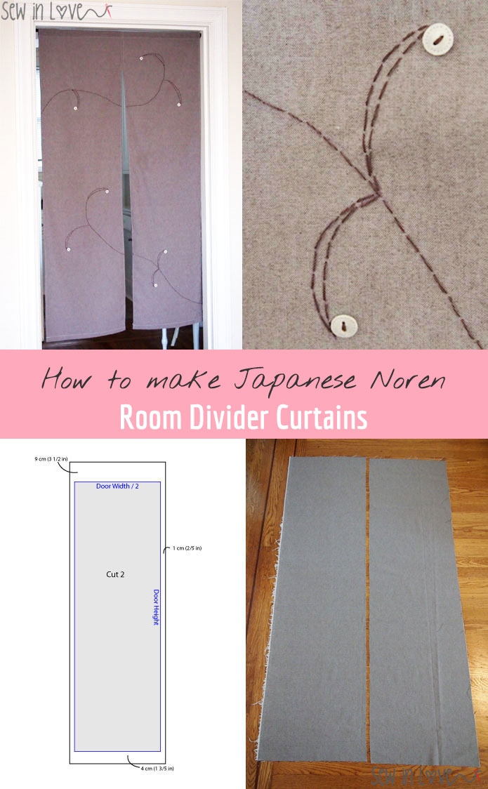 How to make Noren: Japanese room divider curtains you see in Japanese restaurants. Free sewing pattern and tutorial!