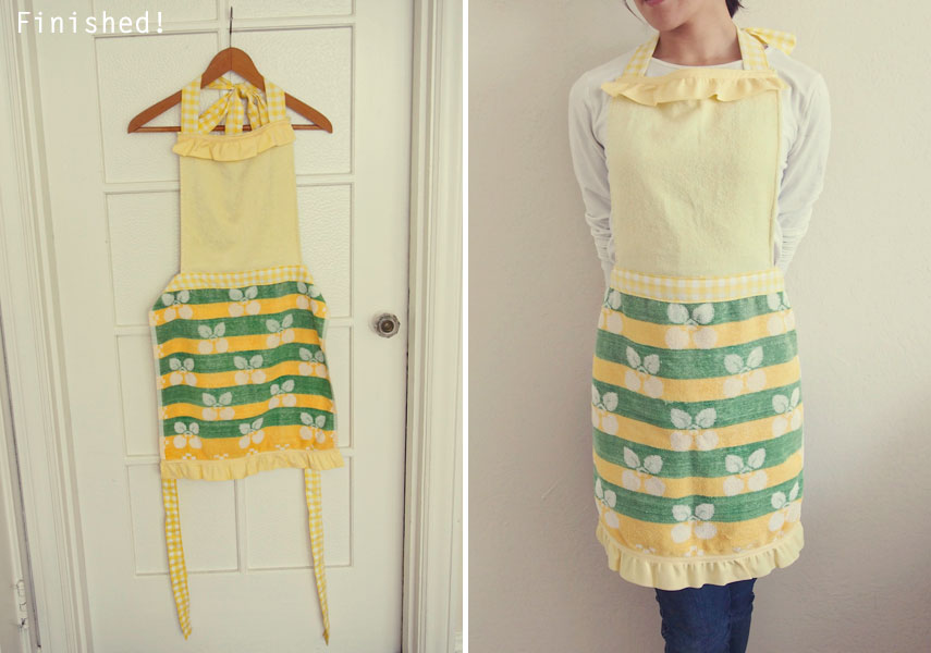 How to sew apron from hand towel エプロン作り方