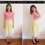 Japanese pattern: Yellow tulle smocked skirt – 手作り ギャザー スカート