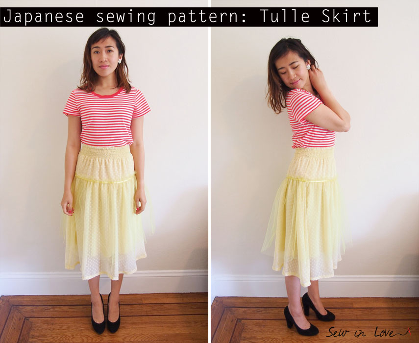Yellow-tulle-skirt-Japanese-sewing-pattern-チュール スカート