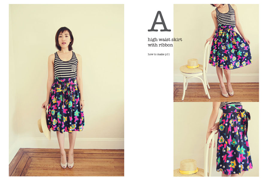 High waist skirt Japanese sewing pattern with English translations.