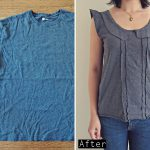 DIY T Shirt into Ruffled Peter Pan Collar Top – Tシャツ リメイク