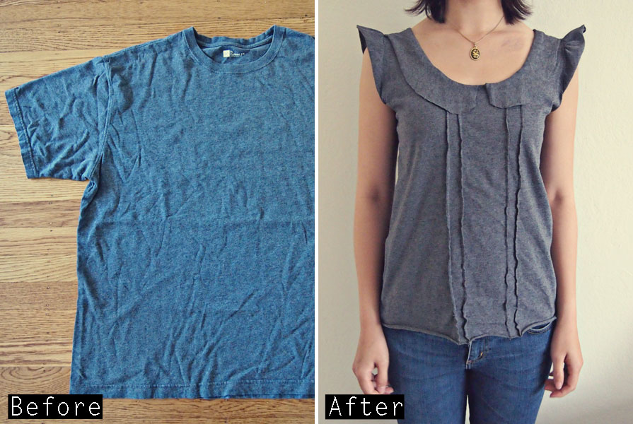 Tshirt-diy-tutorial-Tシャツリメイク