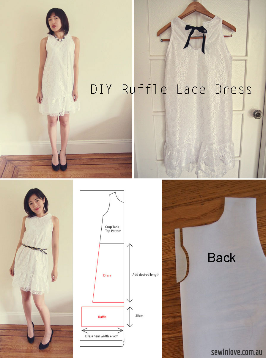 Free Sewing Pattern: Ruffled white lace dress with bow back.