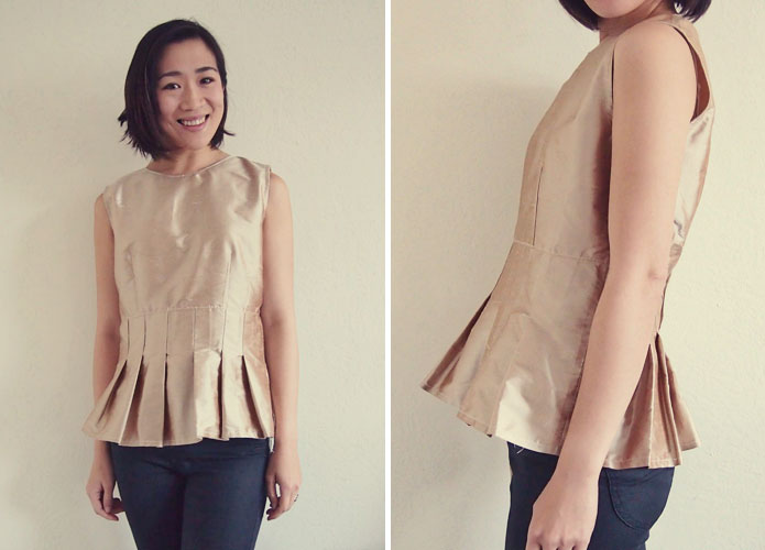 Gold-silk-pleated-peplum-top-sewing-pattern