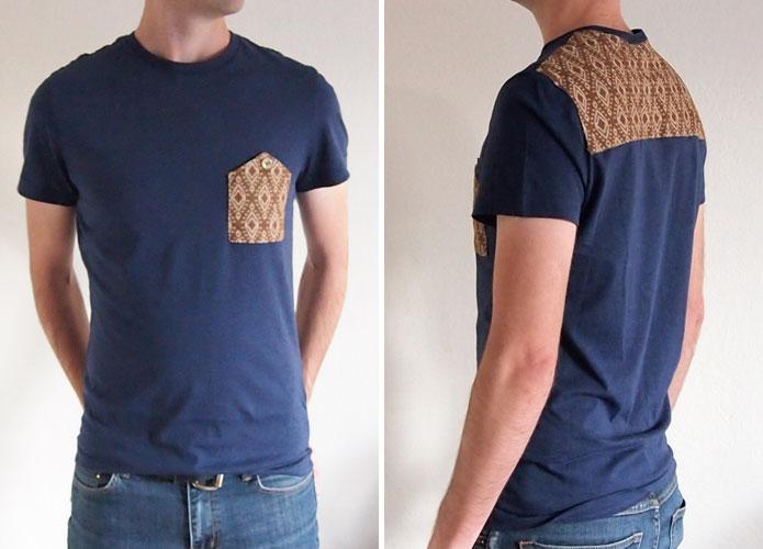 Mens t shirt diy upside down pocket sew in love for Men s down shirt