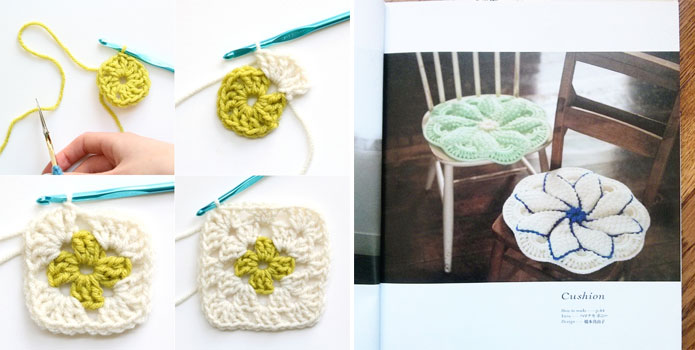 Crochet-granny-square-coaster-and-floral-chair-cushion