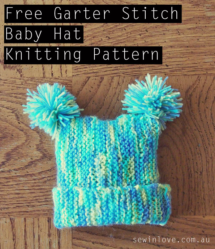 Free Knitting Pattern Garter Stitch Hat : Free baby hat knitting pattern with pom poms: Garter ...