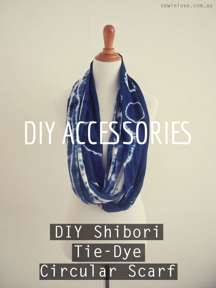 Make your own Anthropologie inspired shibori tie-dye circular scarf.