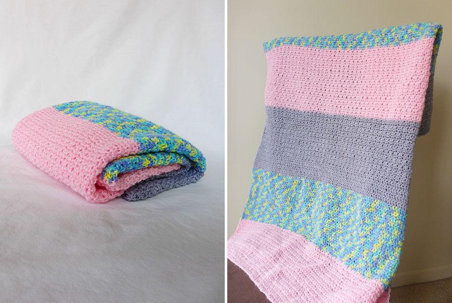 Easy Beginner Crochet Baby Blanket Tutorial : Easy Baby Crochet Blanket for Beginners - Color Block ...