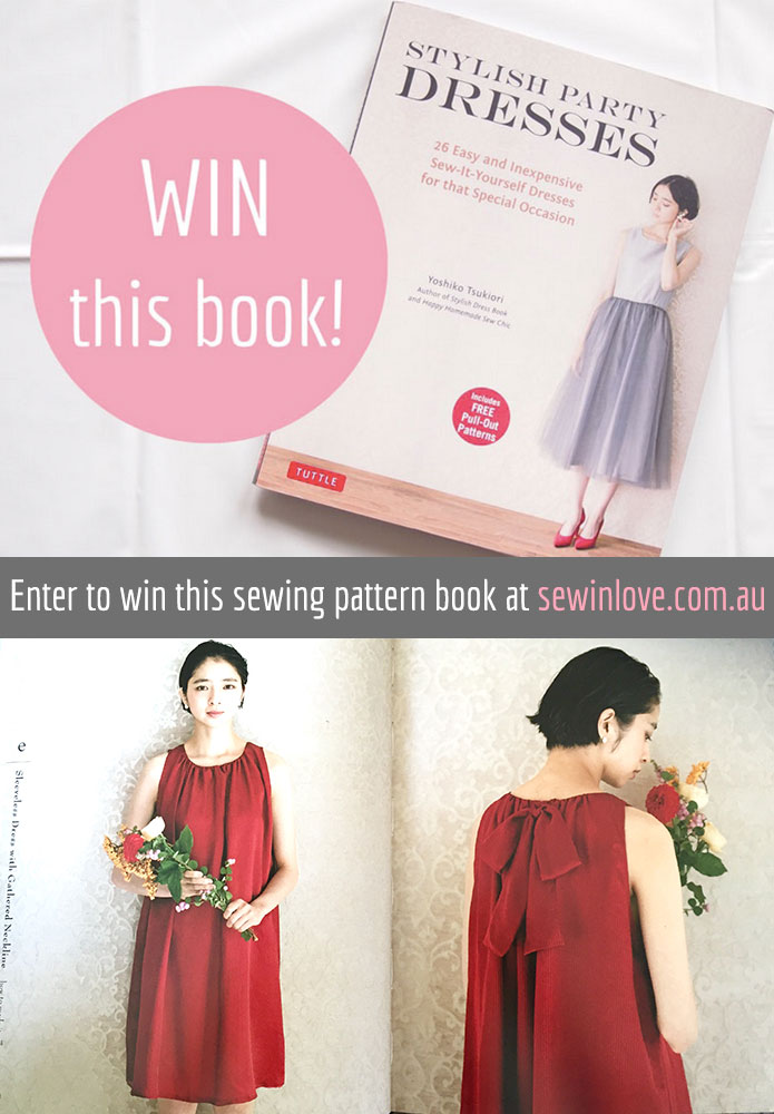 WIN a copy of Stylish Party Dresses, a Japanese sewing pattern book with 26 designs for special occasions. This book includes dresses, boleros, two-piece sets and a jumpsuit sewing pattern! Enter to win at: http://www.sewinlove.com.au/2015/08/27/stylish-party-dresses-japanese-sewing-book-review-give-away/
