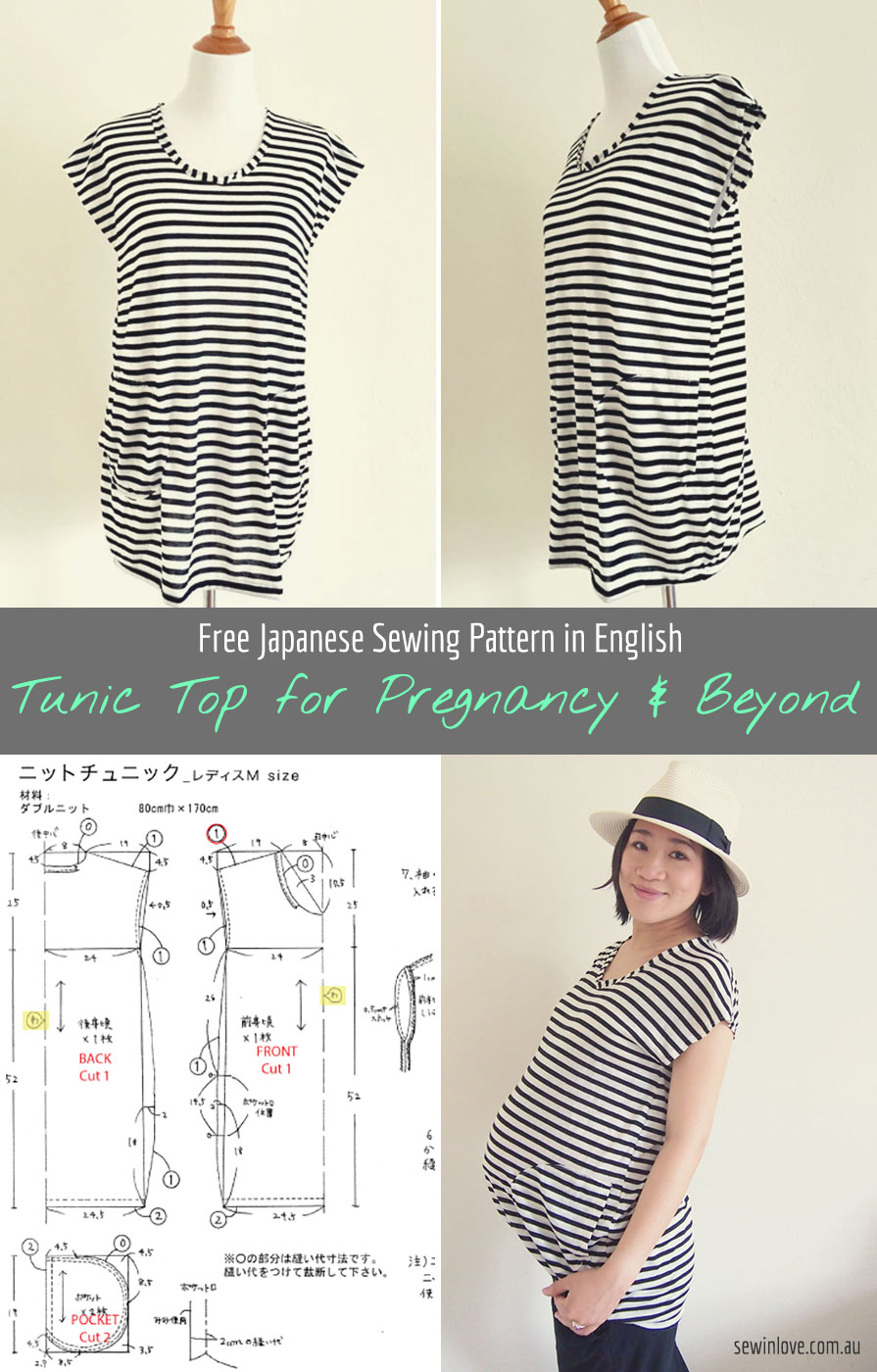 Diy striped tunic top for pregnancy and beyond free sewing free japanese sewing pattern in english striped tunic top this top is made of jeuxipadfo Gallery