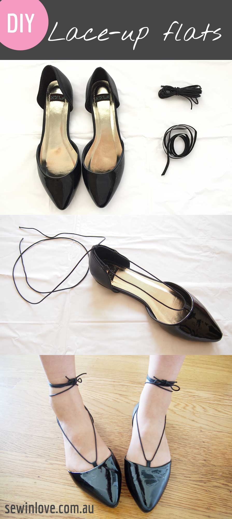 e0ce25885e8a DIY Lace-up Flats - I made me own version of the popular Aquazzura lace
