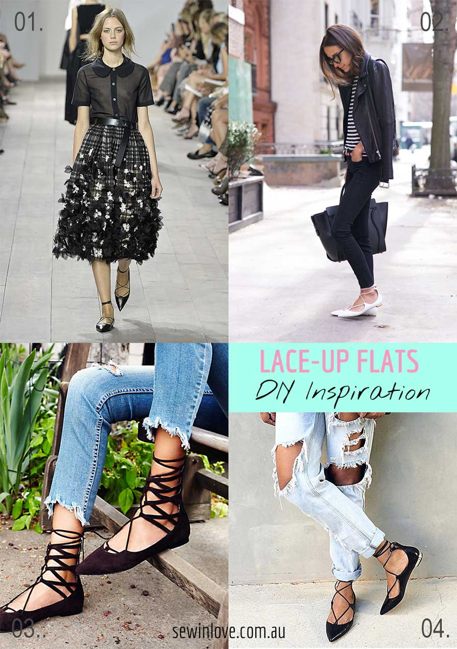 DIY Lace-up Flats - Click for the tutorial! These flats were all over fashion blogs in the Spring. I'm sure you can wear them into the Fall as well, just add jeans. My version cost me only $25 :)