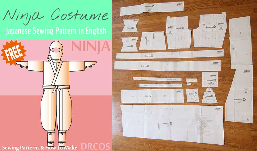 Here's a free Ninja Cosplay costume sewing pattern. It's a Japanese sewing pattern translated into English. It includes accessories such as the hood, mask, hand and shin guards!