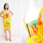 Burda Patterns Sweetheart Dress in Yellow Hawaiian Print