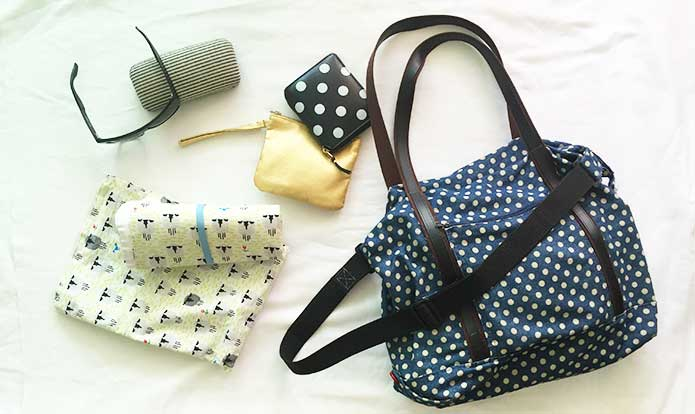 DIY Diaper Bag: Handmade diaper bag with polka dot denim fabric.