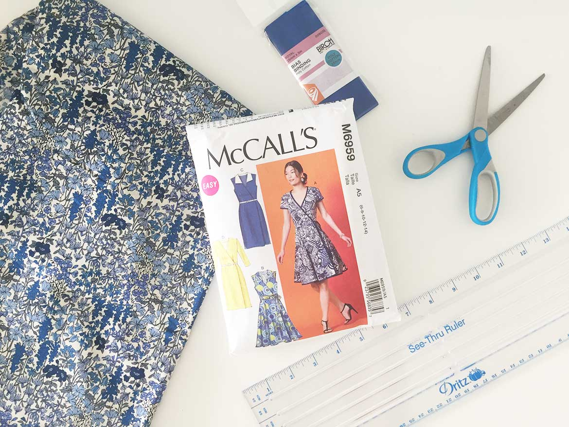 McCall Patterns M6959 Wrap Dress Sewing Pattern   Join me in a sew along to make this wrap dress with short sleeves and flared skirt. I'll be making my dress from this blue floral Japanese lawn fabric.