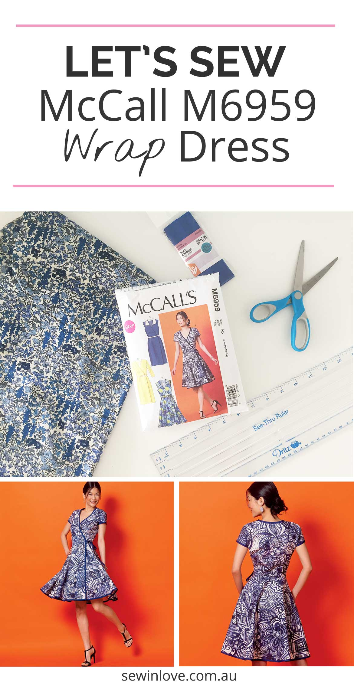 McCall Patterns M6959 Wrap Dress Sewing Pattern | Join me in a sew along to make this wrap dress with short sleeves and flared skirt. I'll be making my dress from this blue floral Japanese lawn fabric.