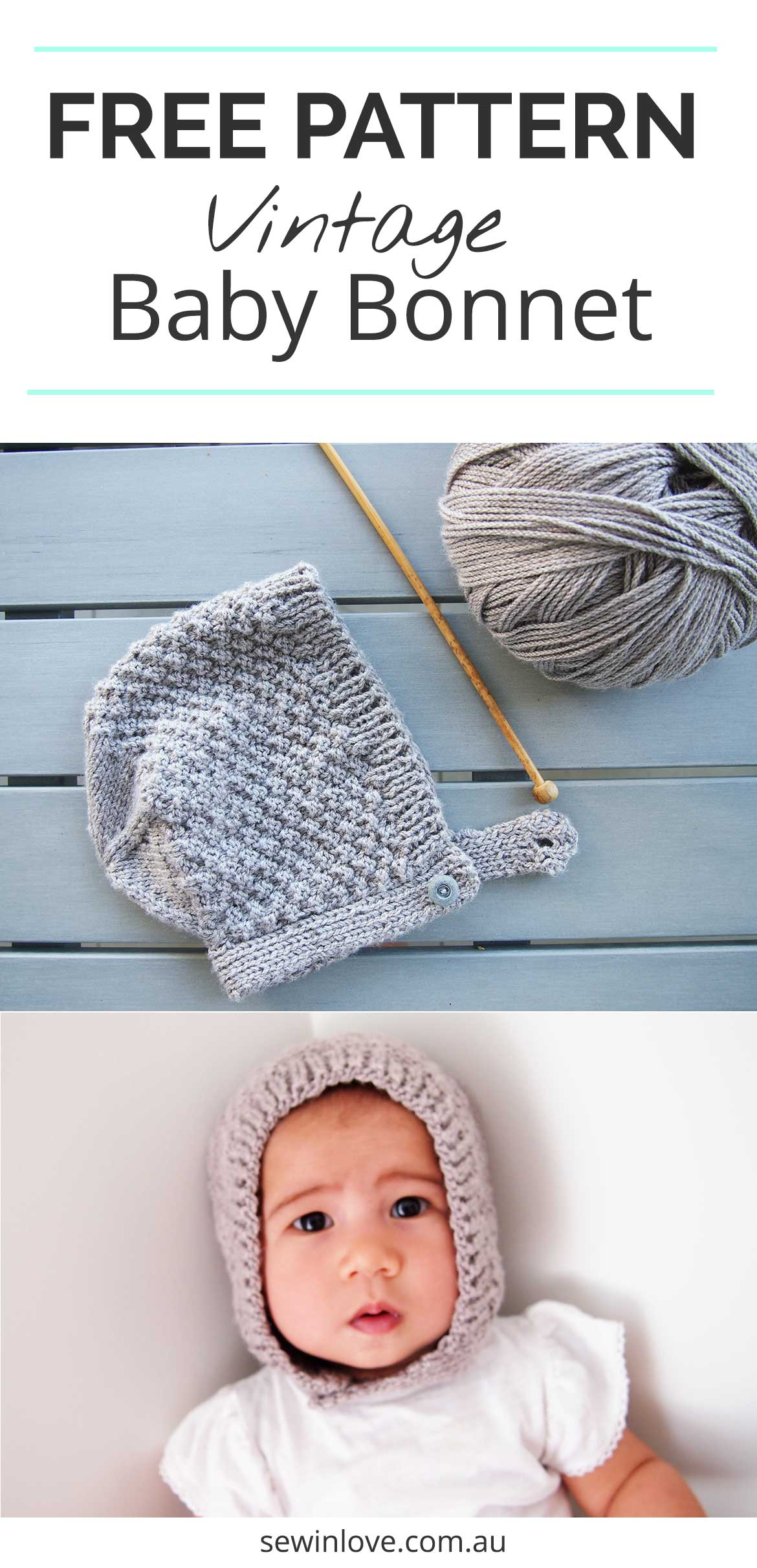 Easy Baby Knit Hat Pattern For Beginners : Free Baby Bonnet Hat Pattern - Easy Knitting for Beginners ...
