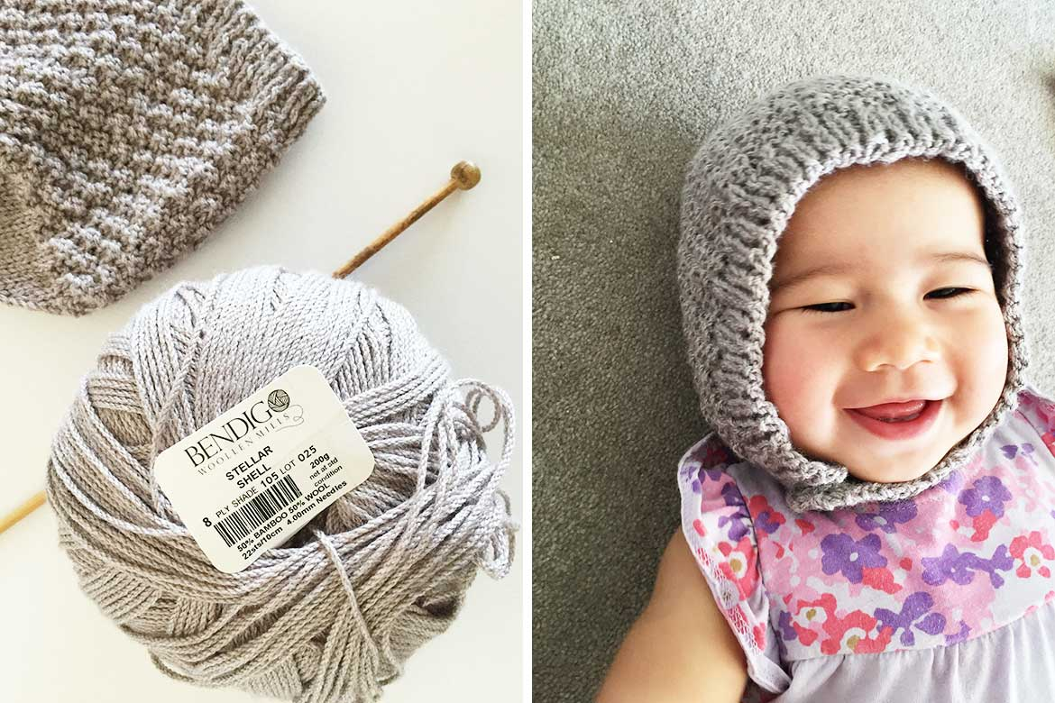 Beginner Hat Knitting Patterns : Free Baby Bonnet Hat Pattern - Easy Knitting for Beginners - Sew in Love