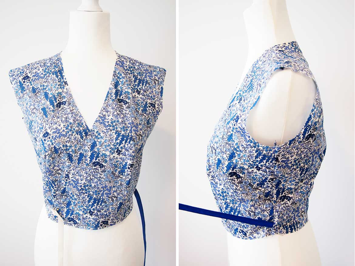 McCalls Patterns M6959: Making the bodice and attaching the waist ties.
