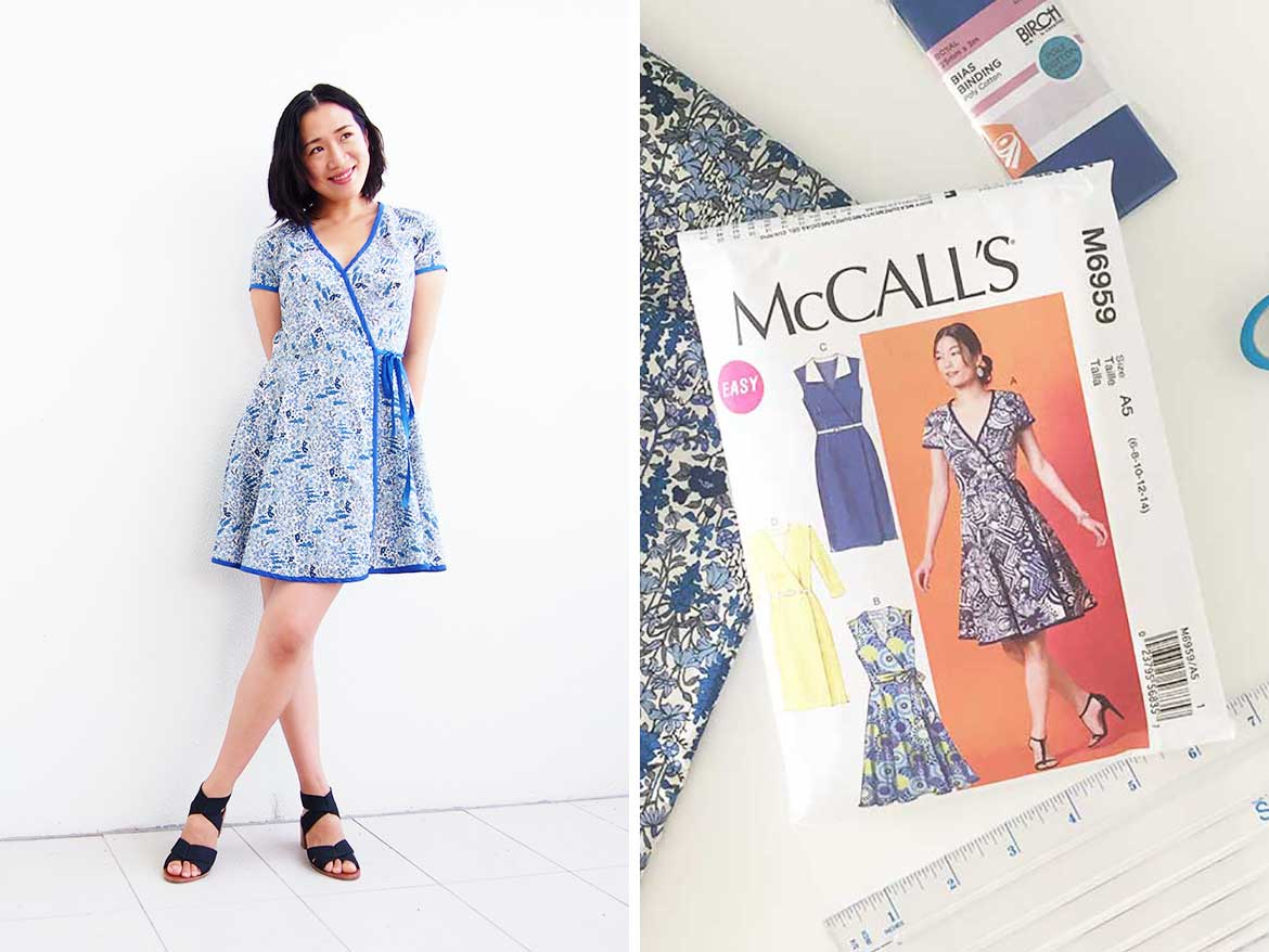 McCalls Patterns M6959 Wrap Dress - This is a great sewing pattern, really recommend it for beginners! Japanese Lawn fabric