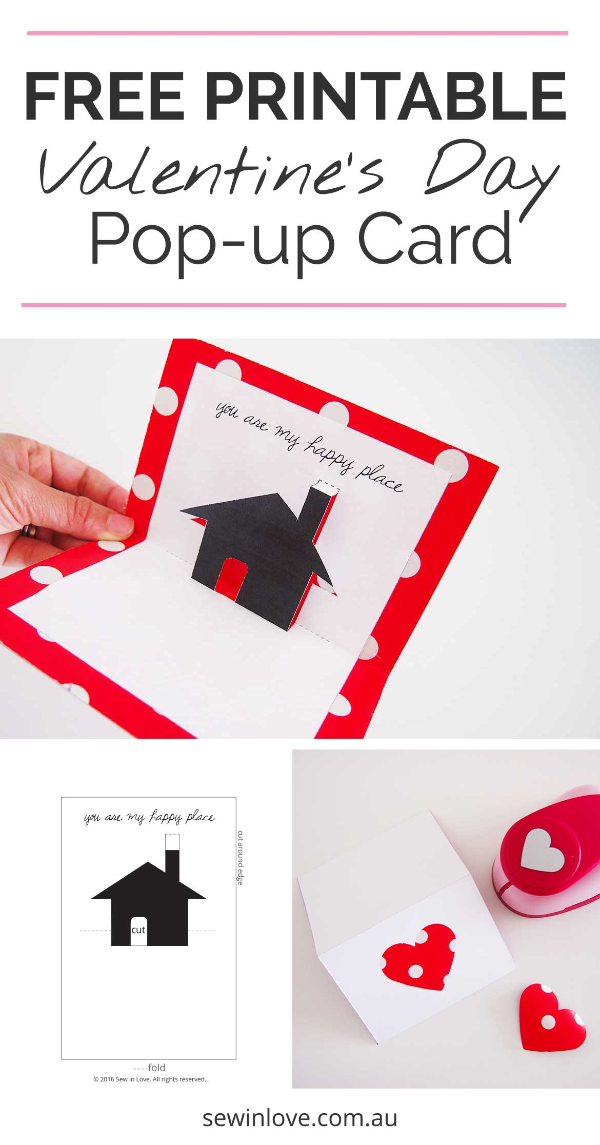 Free Valentines Day Printable Card Cute Popup Sew in Love – Pop out Valentines Day Cards