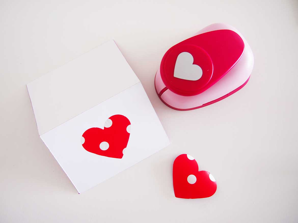 Decorate the front of the card with a love heart for added cute-ness.
