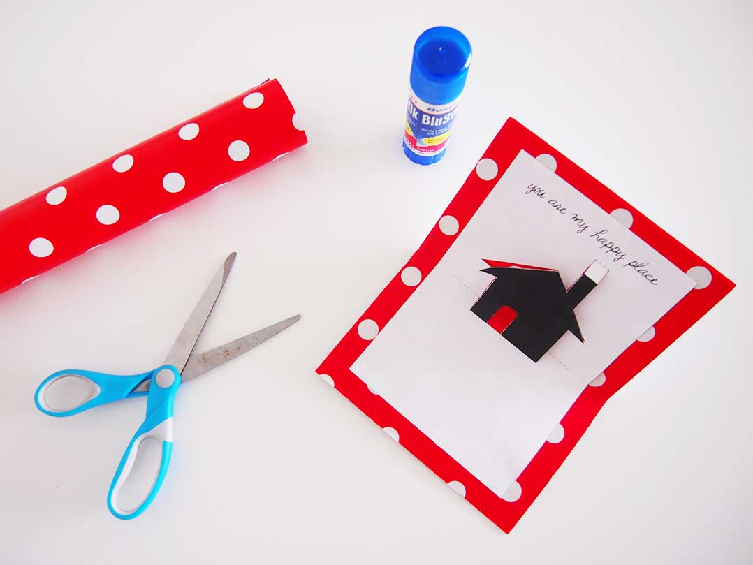 DIY Valentines Idea: Free Printable Pop-up Card. Here's a cute and funny card you can make in a few minutes for your Valentine. Download the free printable and print at home with black ink. Then, cut out the little house and paste on to cardboard. Easy!