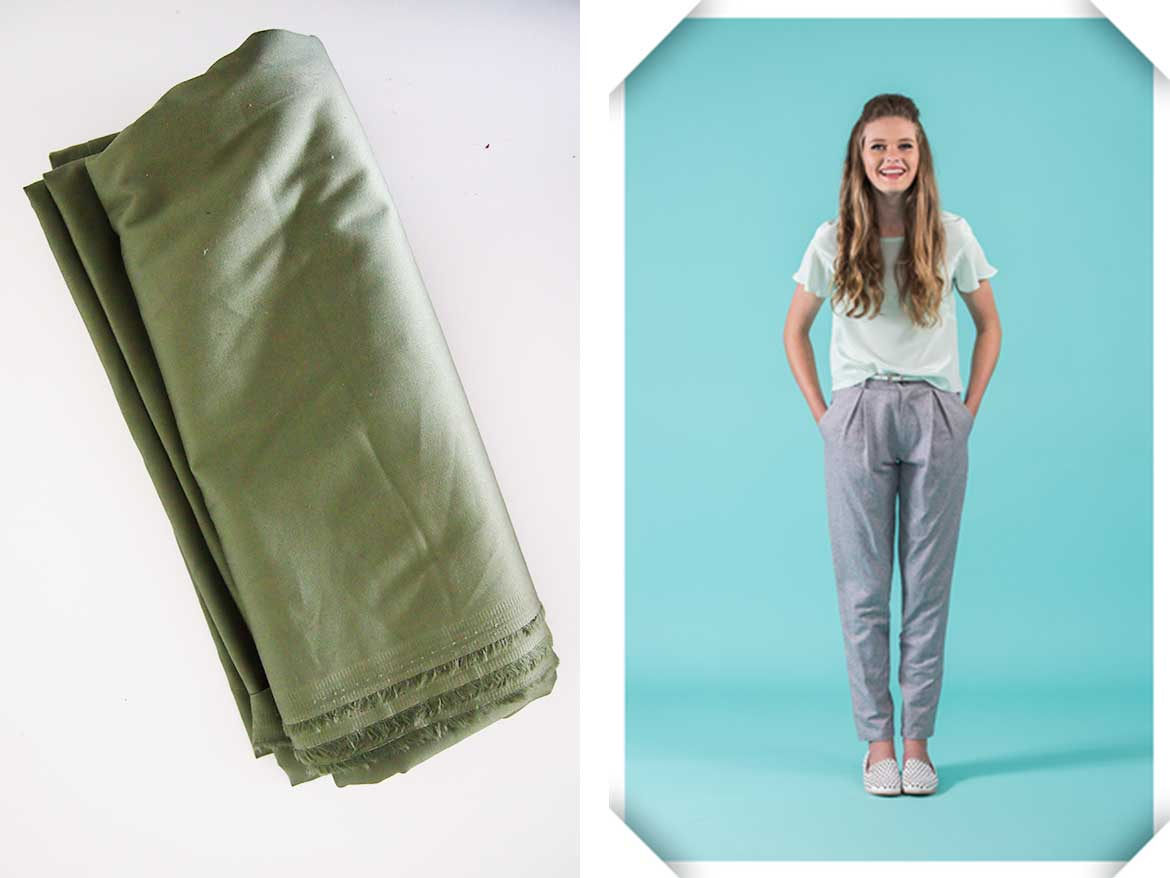 I'm planning to make the Guise pants from Papercut Patterns using this army green polycotton fabric.