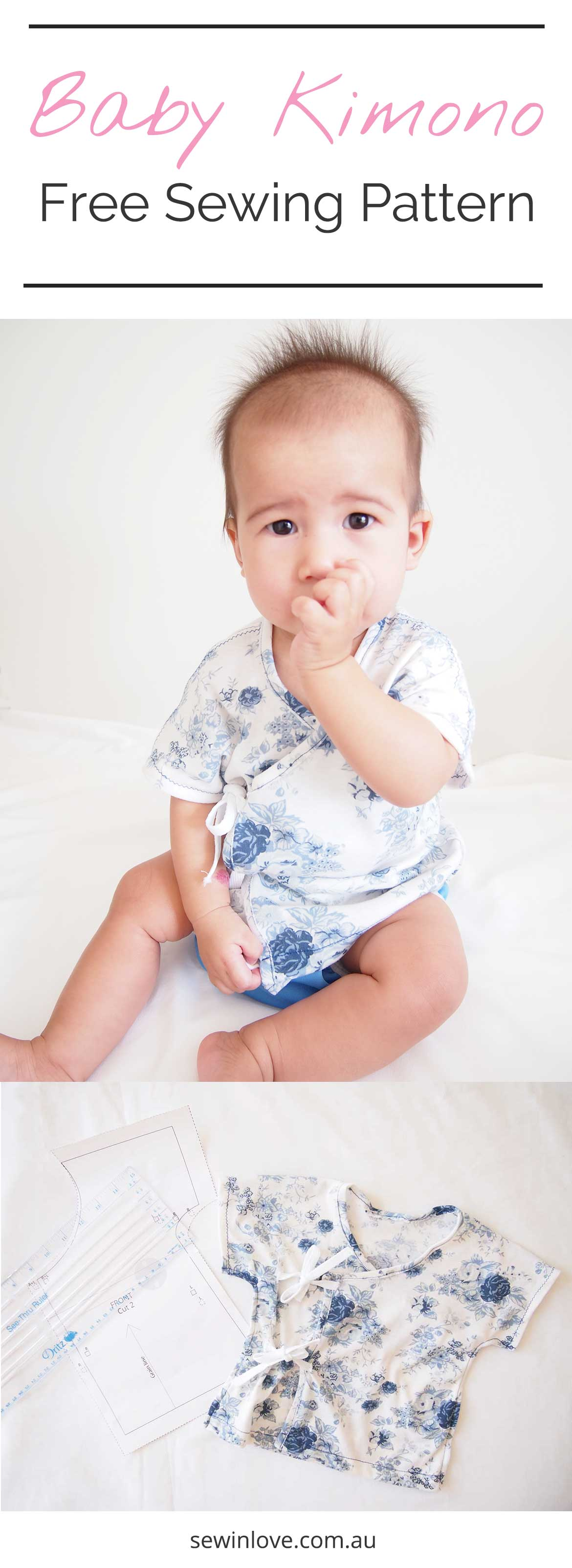Patron de couture gratuit Kimono bébé | Apprenez à faire un bébé kimono avec ce patron et ce tutoriel gratuits disponibles à Sew in Love. Le kimono est disponible en deux tailles, 3-6 et 6-9 mois. Obtenez le patron de couture sur www.sewinlove.com.au