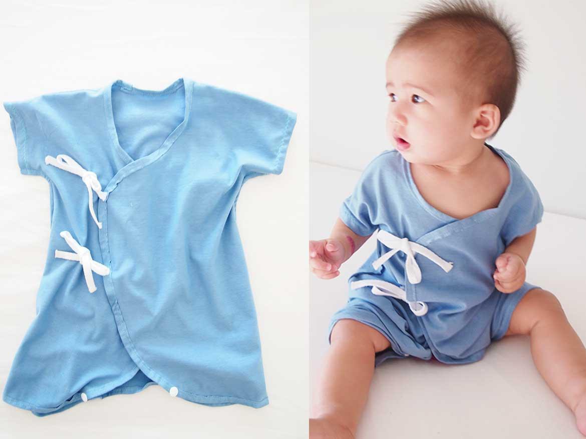 Cute baby onesie - kimono style! This is a free sewing pattern and tutorial. Make one for your little one today!