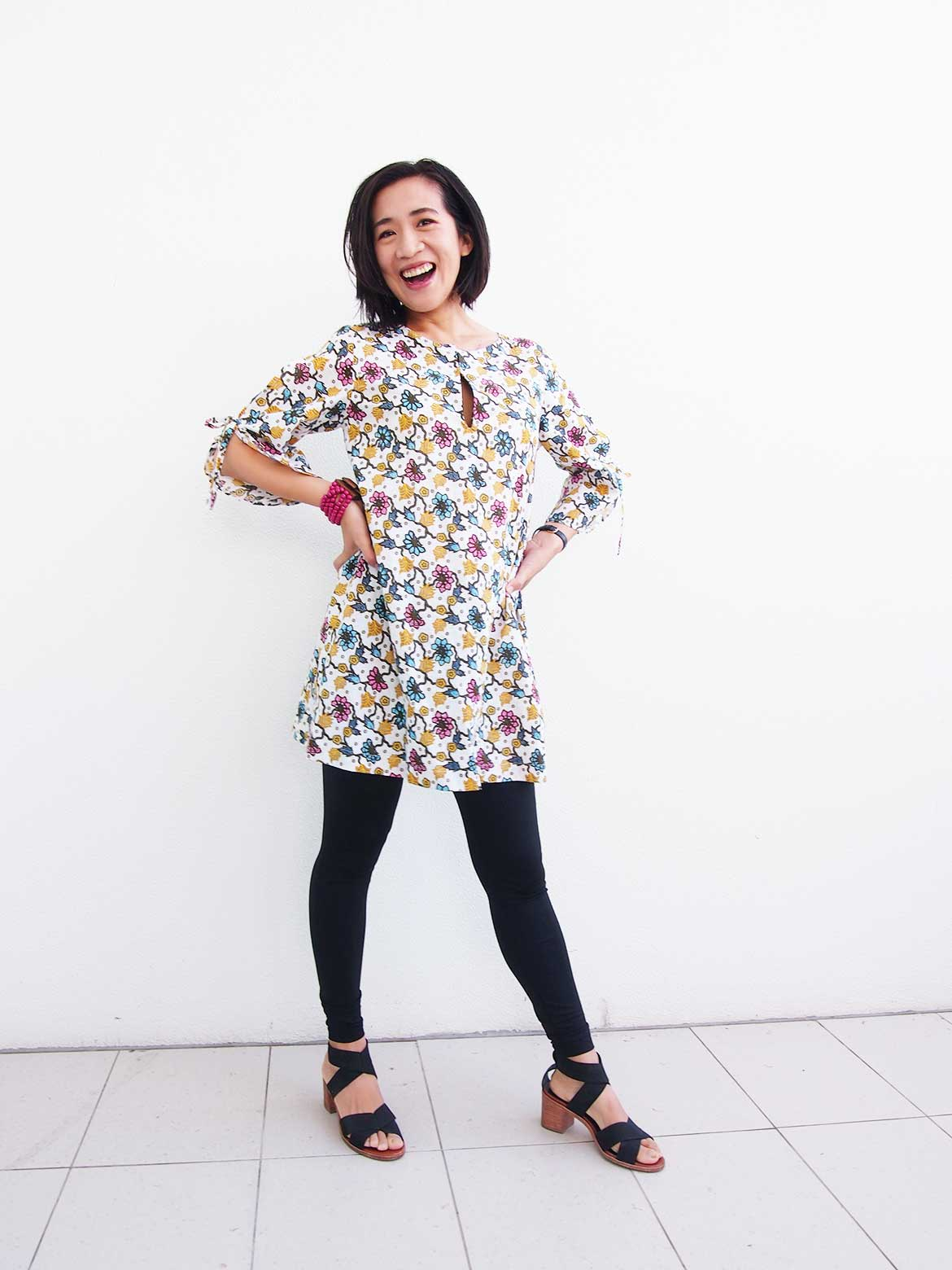 DIY Tunic Dress | This is from the popular Japanese sewing pattern book, Stylish Dress Book 1. I've made the front slit a little longer than the original design so I can breastfeed!