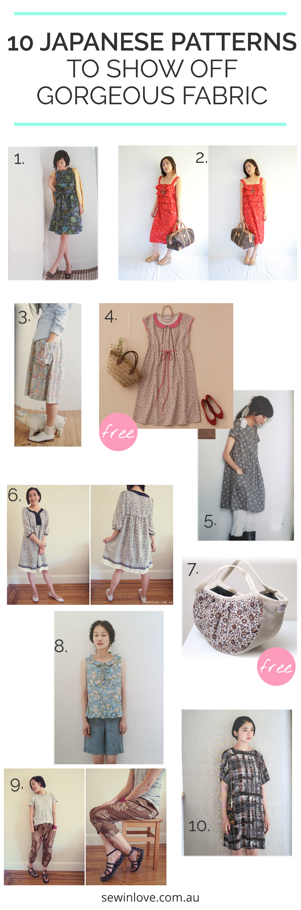 Here's 10 Japanese sewing patterns to finally use that too-pretty-to-cut fabric you've got stashed away! The simple lines of these patterns really show off your gorgeous fabric.