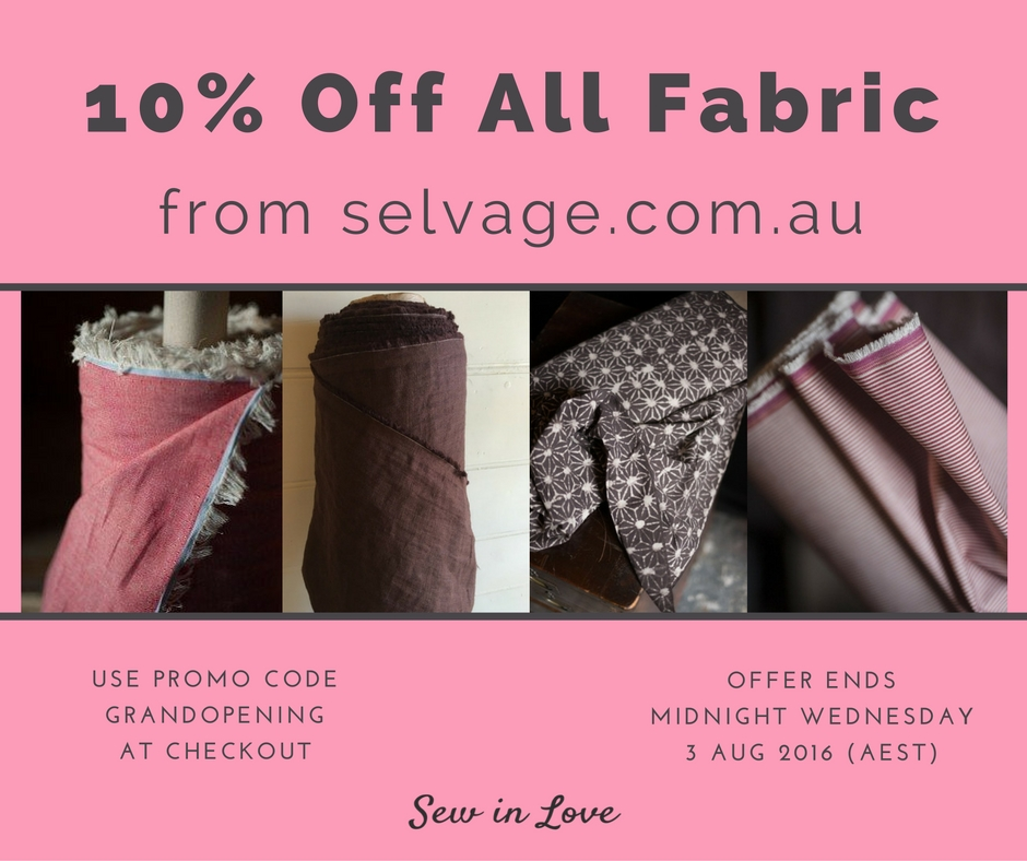 Get 10% off all fabric, including Merchant & Mills and Liberty of London by using the code GRANDOPENING at selvage.com.au