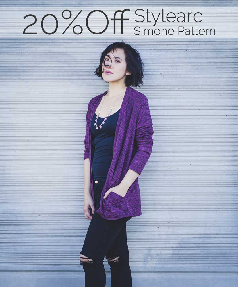 Stylearc Simone Cardigan Review - This open front cardigan sewing pattern is very easy and comes together very quickly! The built in pockets add a designer touch. Go to my blog to get 20% off this sewing pattern!
